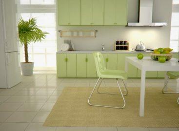 Phòng bếp mang màu xanh của tự nhiên