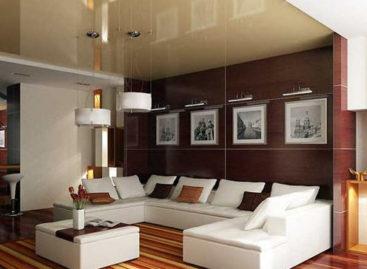 Không gian phòng khách với màu nâu trầm
