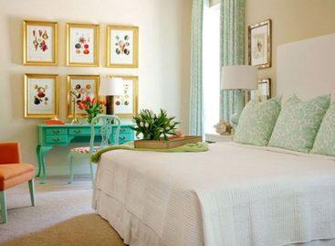 Bài trí phòng ngủ với tông màu ngọc lam