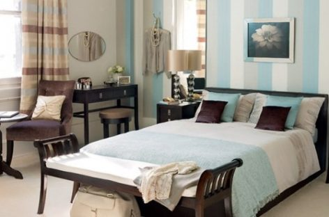 Phòng ngủ đẹp với họa tiết kẻ sọc
