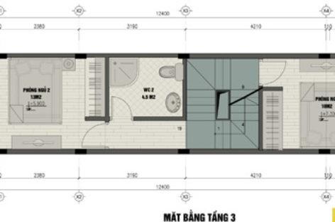 Xây nhà 3 tầng, 3 phòng ngủ trên đất 30m2
