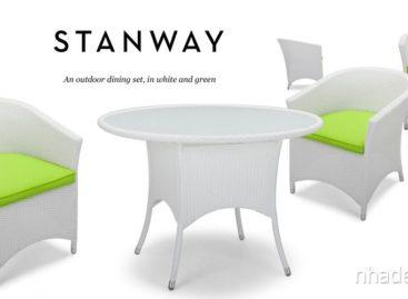 Trắng xanh thanh nhã với bộ bàn ghế ăn ngoài trời
