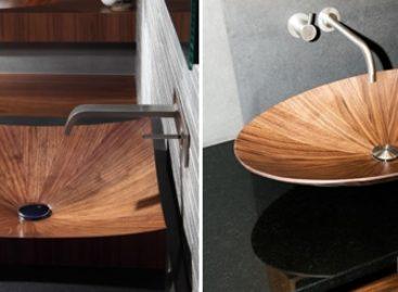 Bồn rửa bằng gỗ độc đáo cho phòng tắm