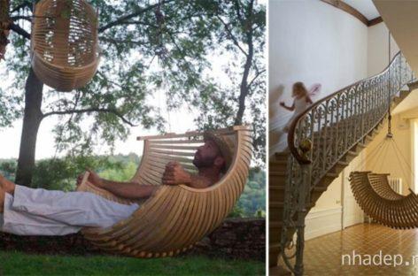 Không gian thêm sinh động với chiếc ghế treo bằng gỗ