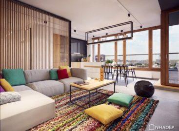 Cách phối màu sắc tinh tế giúp tăng độ rộng cho căn hộ Warsaw
