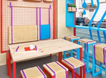 Không gian nhà hàng đầy màu sắc tại Bonn