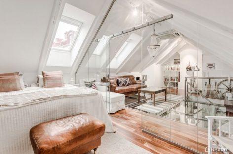 Căn hộ hai tầng ở Stockholm độc đáo với sàn nhà bằng kính