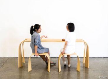 Bộ bàn ghế có thiết kế uốn lượn tinh tế