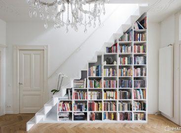 Sự kết hợp tuyệt vời giữa cầu thang và kệ sách