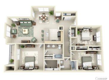 Một số ý tưởng thiết kế căn hộ ba phòng ngủ