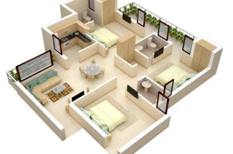 Một số ý tưởng thiết kế căn hộ 3 phòng ngủ (Phần 2)