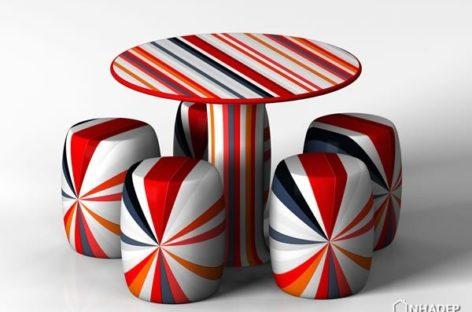 Jin Ming – bộ sưu tập bàn ghế bằng gốm với hoa văn hiện đại
