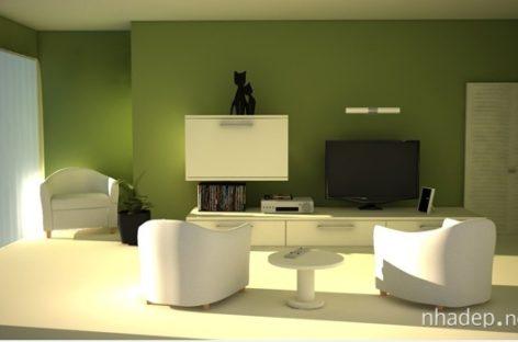 Sắc xanh tươi mát cho phòng khách đón hè