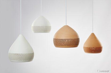 Bộ sưu tập đèn bằng gốm với cấu trúc tổ ong