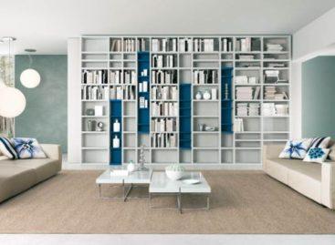 Tủ sách tri thức trong phòng khách hiện đại