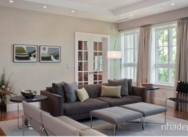 Thiết kế phòng khách với gam màu xám chủ đạo