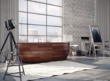 Những thiết kế bồn tắm gỗ mộc mạc
