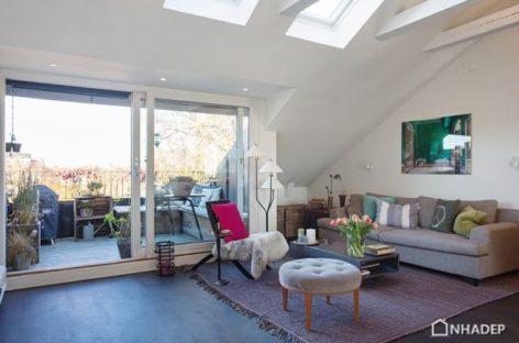 Ý tưởng căn hộ áp mái với cửa sổ rộng và tầm nhìn đẹp