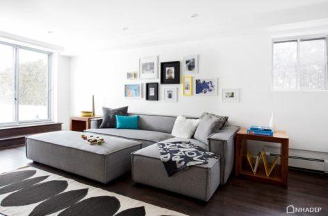 Làm mới không gian nội thất với gỗ óc chó và màu xám khói