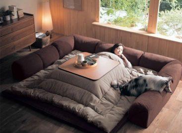 Chiếc giường kết hợp bàn sưởi Kotatsu Nhật Bản ấm áp
