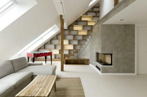 12 mẫu thiết kế kệ sách kết hợp cầu thang độc đáo